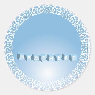 Eleganta blått med kvarter runt klistermärke