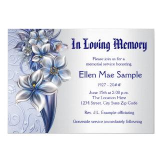 Eleganta blåttminnesgudstjänstmeddelanden 12,7 x 17,8 cm inbjudningskort