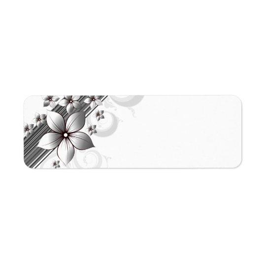 Eleganta blom- gränsetiketter i svart returadress etikett