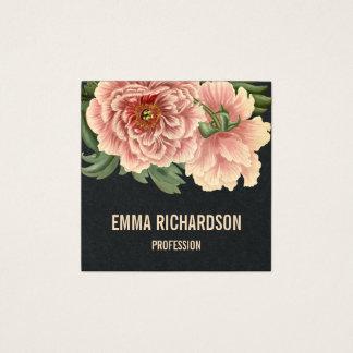 Eleganta blom- moderiktiga rosa pionvisitkortar fyrkantigt visitkort