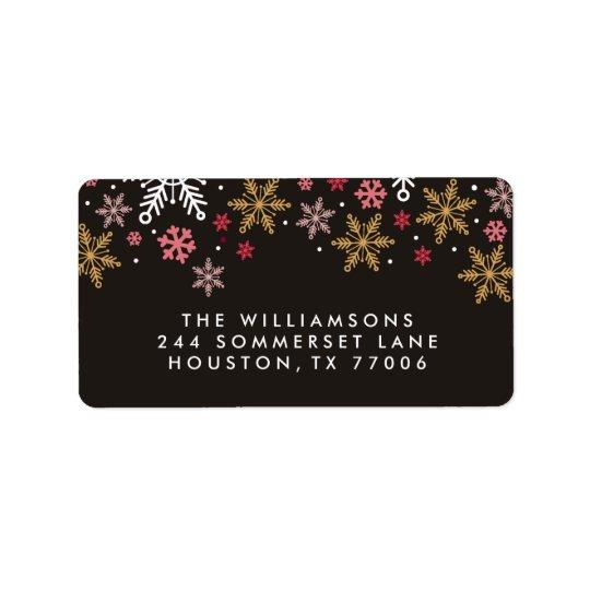 Eleganta etiketter för snöflingorpersonlighelgdag adressetikett