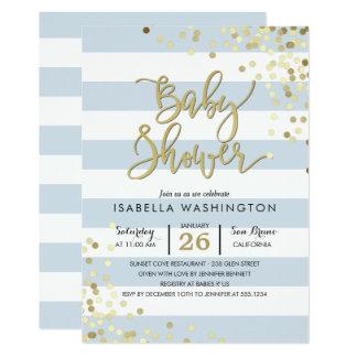 Eleganta guld- konfettiar för baby shower | & 12,7 x 17,8 cm inbjudningskort
