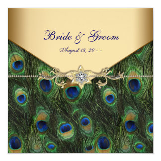 Eleganta guld- påfågelbröllopinbjudningar fyrkantigt 13,3 cm inbjudningskort