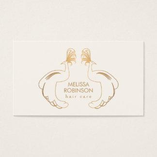 Eleganta guld- påfåglar II för hårstylist Visitkort