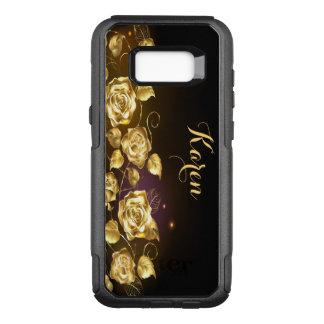 Eleganta guld- ro på svart och lilor OtterBox commuter samsung galaxy s8+ skal