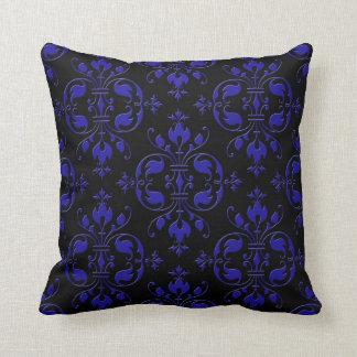 Eleganta koboltblått och svartdamast kudde