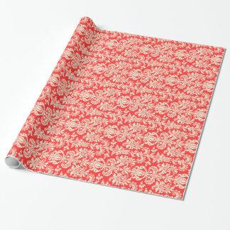 Eleganta Korall-Röda och kräm- blom- damaster Presentpapper