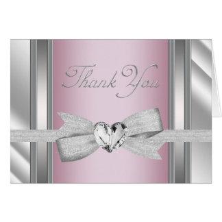 Eleganta kort för tack för silverrosababy