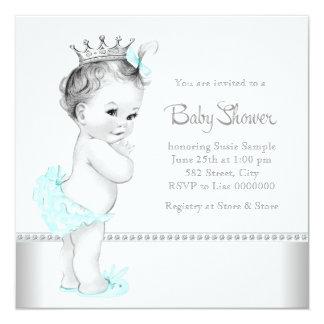 Eleganta krickablått och silverbaby shower fyrkantigt 13,3 cm inbjudningskort