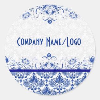 Eleganta kungliga blått- och vitdamaster & virvlar runt klistermärke