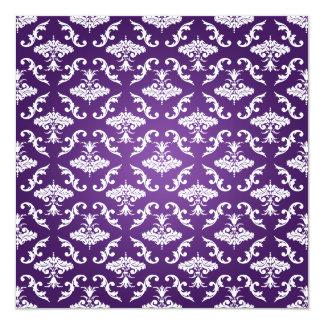Eleganta lilor för möhippavintagedamast fyrkantigt 13,3 cm inbjudningskort