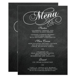 Eleganta mallar för svart tavlabröllopmeny 11,4 x 15,9 cm inbjudningskort