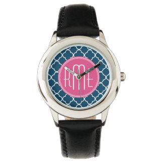 Eleganta marinblåa Quatrefoil med den rosa Armbandsur