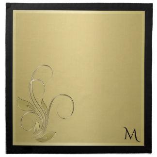 Eleganta Monogramservetter för guld och för svart Tygservett