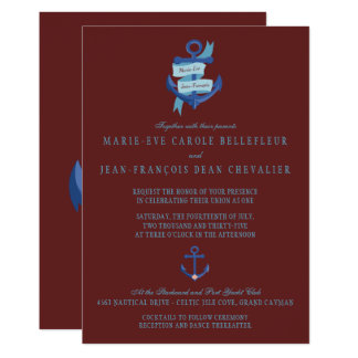 Eleganta nautiska blått ankrar destinationsbröllop 12,7 x 17,8 cm inbjudningskort