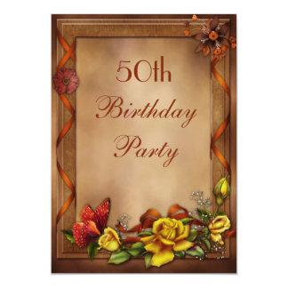 Eleganta ro & födelsedagsfest för fjäril 50th 12,7 x 17,8 cm inbjudningskort