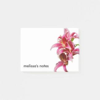 Eleganta rosa orientaliska liljar post-it lappar