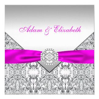 Eleganta silver- och Fuchsiabröllopinbjudningar Fyrkantigt 13,3 Cm Inbjudningskort