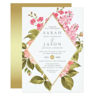 Eleganta vattenfärgro & blom- bröllop för blommar 12,7 x 17,8 cm inbjudningskort