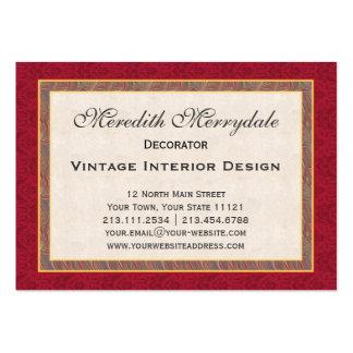 Eleganta vildblommor och damastast dekoratör set av breda visitkort