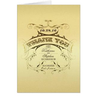 Eleganta vintage brölloptackkort - guld OBS kort