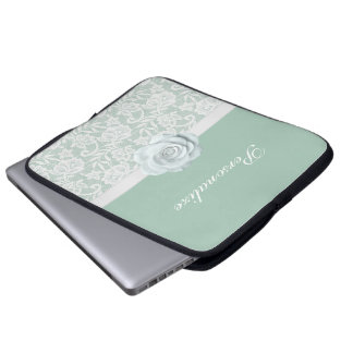 Eleganta vit ros & snöreMintgrönt Laptop Fodral