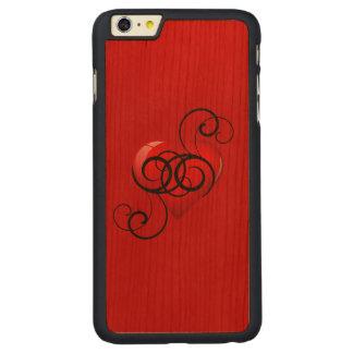 Eleganten frodasde hjärta carved körsbär iPhone 6 plus slim skal