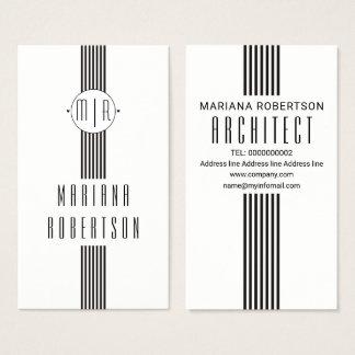 Eleganten görar randig och svart vit för monogram visitkort