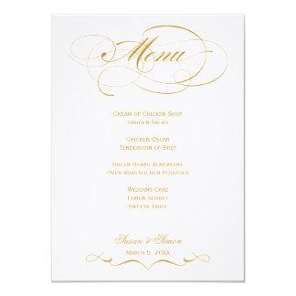 Eleganten skrivar bröllopmenyn - guld 11,4 x 15,9 cm inbjudningskort