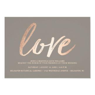 Eleganten skrivar fauxen omkullkastar kärlek 12,7 x 17,8 cm inbjudningskort