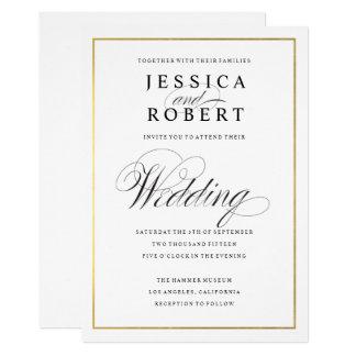 Eleganten skrivar för gränsbröllop för Faux guld- 12,7 X 17,8 Cm Inbjudningskort