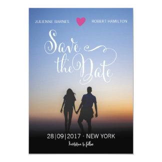 Eleganten skrivar fotobröllop spara datum 12,7 x 17,8 cm inbjudningskort