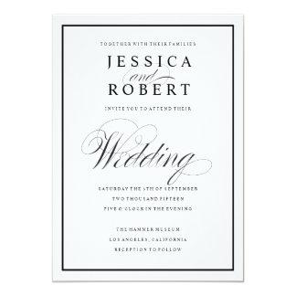 Eleganten skrivar och svärtar gränsbröllopinbjudan 12,7 x 17,8 cm inbjudningskort