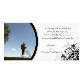 Eleganten virvlar runt bröllop tackar dig photocar fotokort mall