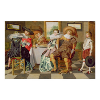 Elegantfigurer som festar på ett bord poster