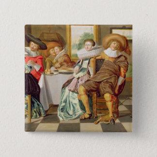 Elegantfigurer som festar på ett bord standard kanpp fyrkantig 5.1 cm