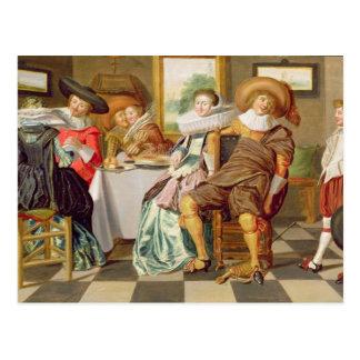Elegantfigurer som festar på ett bord vykort