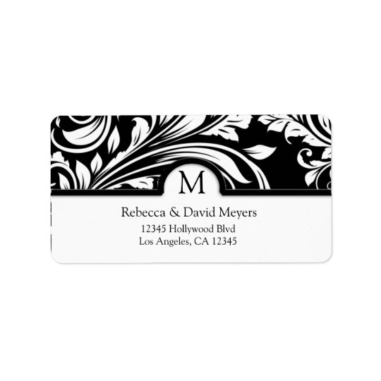 Elegantsvart & blom- damast för vit med monogramen adressetikett