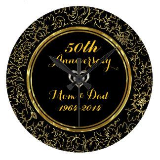 Elegantsvart & bröllopsdag för guld 50th stor klocka