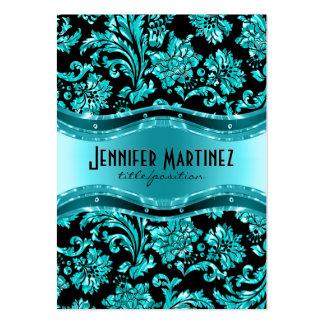 Elegantsvart & metalliska blåttvintagedamaster set av breda visitkort