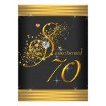 Elegantsvart och födelsedagsfest för guld 70th inbjudningskort