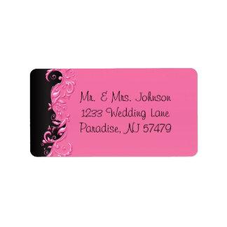 Elegantsvart och rosa Florid bröllop Adressetikett