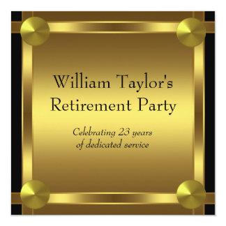 Elegantsvarten och guld bemannar pensionpartyet fyrkantigt 13,3 cm inbjudningskort