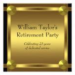 Elegantsvarten och guld bemannar pensionpartyet unika inbjudningar