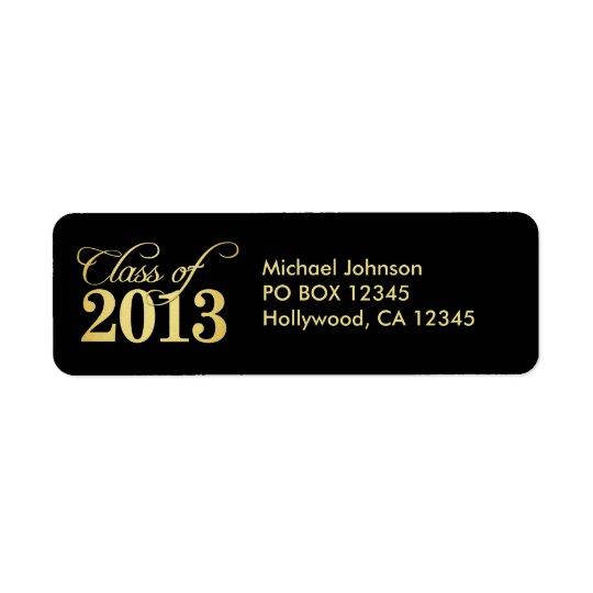 Elegantsvarten och guld klassificerar av 2013 returadress etikett