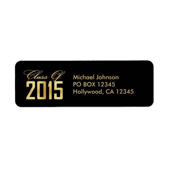 Elegantsvarten och guld klassificerar av 2015 returadress etikett