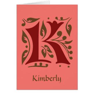 Elegantt antikt medeltida brev K OBS Kort