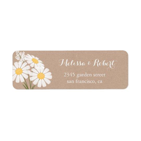 Elegantt blom- bröllop för vitdaisybukett returadress etikett