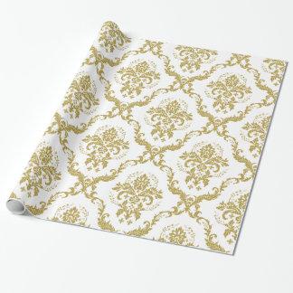 Elegantt blom- damastmönster för vit och för guld presentpapper