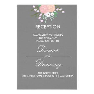 Elegantt blom- mottagandekort - grått 8,9 x 12,7 cm inbjudningskort